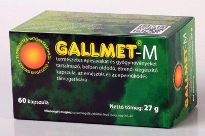 GALLMET-M/60 db természetes epesavakat és gyógynövényeket tartalmazó, bélben oldódó étrend-kiegészítő kapszula, az emésztés és az epeműködés támogatására